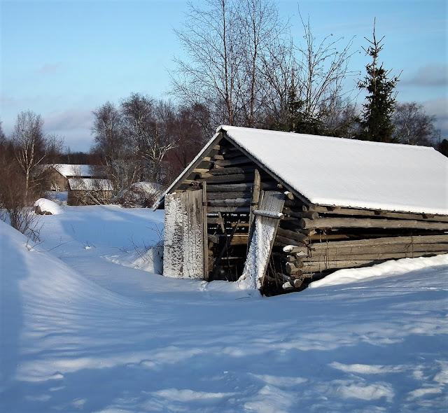 vanha lato, helmikuu, lumi, maalaismaisema