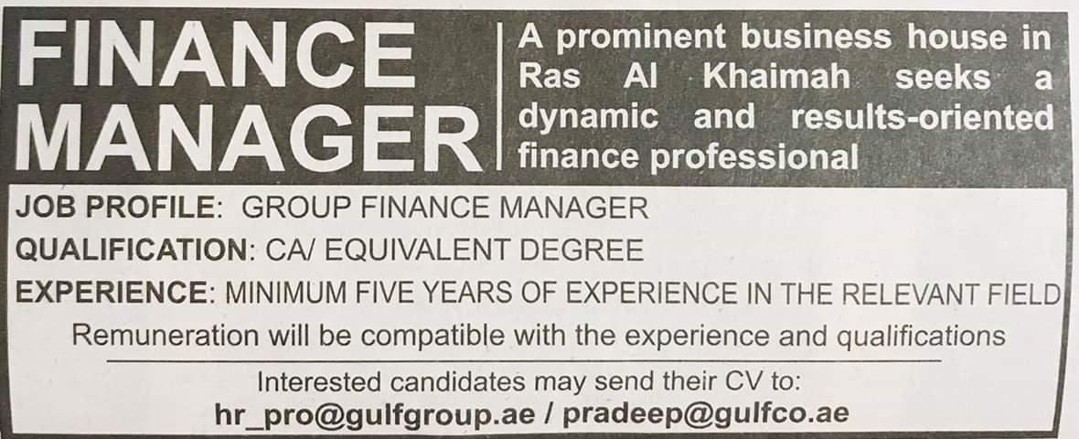Required Finance Manager UAE JOBS Local Hiring Khaleej Times