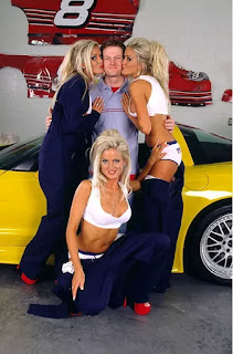 Junior Poses With The Dahm Triplets On The Set Of Playboy Shoot