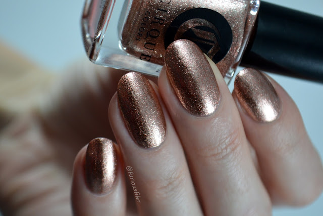 cirque rose gold metallic micro flakes christmas nails
