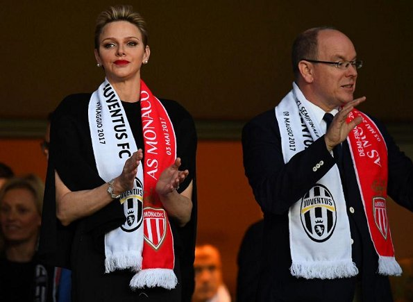 Princess Charlene and Prince Albert watched UEFA Champions League semi final match at Louis II Stadium in Monaco