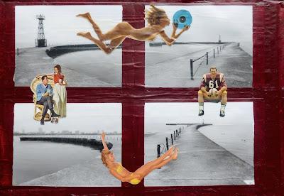 Montrose harbor pier vintage blonde nude holding vinyl 50's family old school football player falling bikini model erotic Lake Michigan Dada Fluxus collage