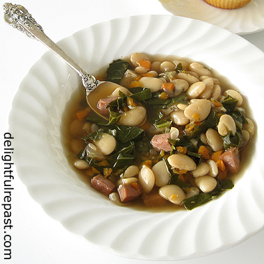 Lima Beans with Ham and Collard Greens / www.delightfulrepast.com