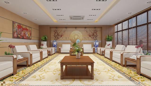 Những chi tiết đậm văn hóa Việt như mặt chiếc trống đồng hay bức tranh dân gian nổi bật được các nhà thiết kế tận dụng khéo léo trong bài trí thiết kế nội thất phòng khánh tiết