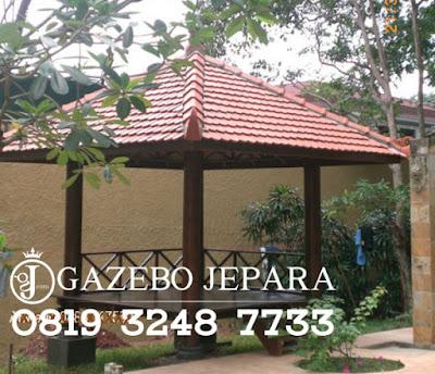 Gazebo Kayu Glugu Atap Genteng