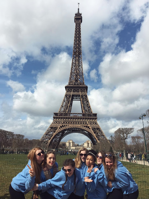 Me and my friends in front of the Eiffel Tower, La Tour Eiffel