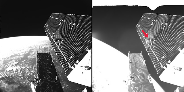 The picture shows Sentinel-1A's solar array before and after the impact of a millimeter-size particle on the second panel. Photo Credit: ESA