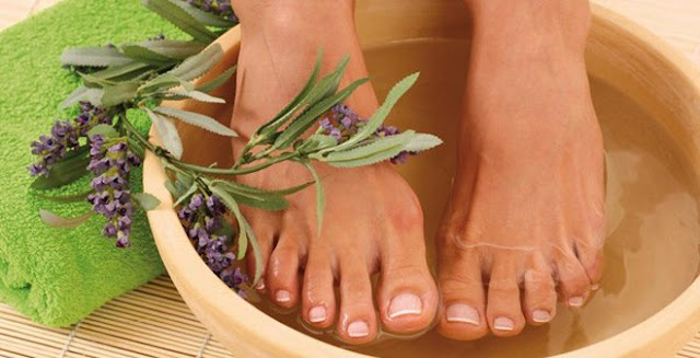 Ngâm chân trong nước ấm 30 phút với thảo dược