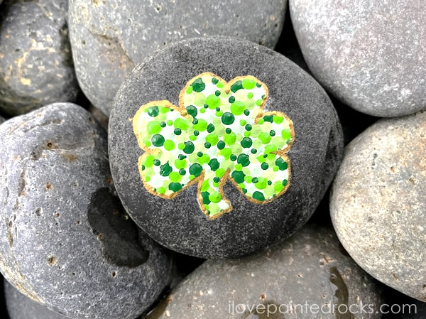 St Patrick's Day craft idea - make a dot painted shamrock silhouette painted rock