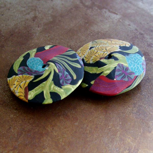 Flower disk beads with color palettes and patterns inspired by art