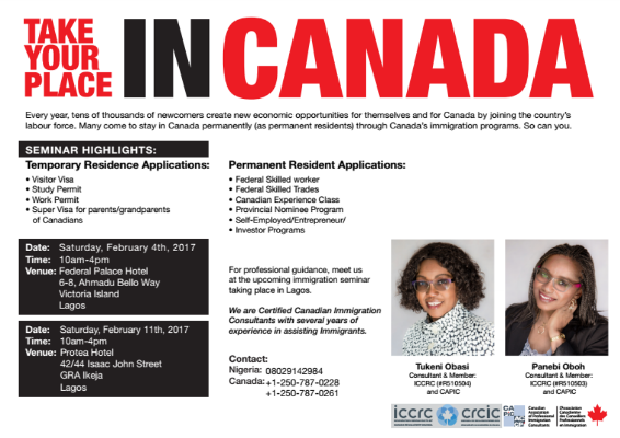Free immigration seminar: Take your place in Canada
