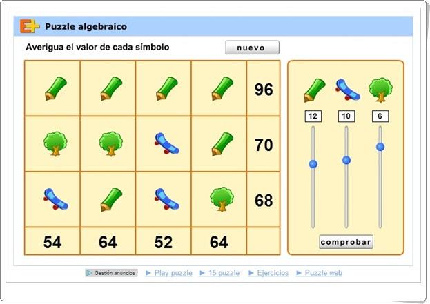 """""""Puzzle algebraico"""" (Juego de Matemáticas)"""