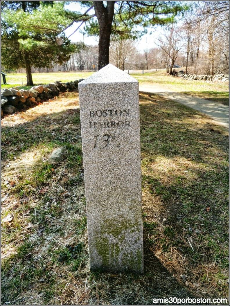 Señal del Camino con la Distancia hasta Boston
