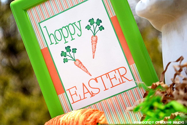 framed easter sign, outdoor easter party, orange & green easter