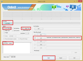 Setting Flash Samsung 3 file with odin