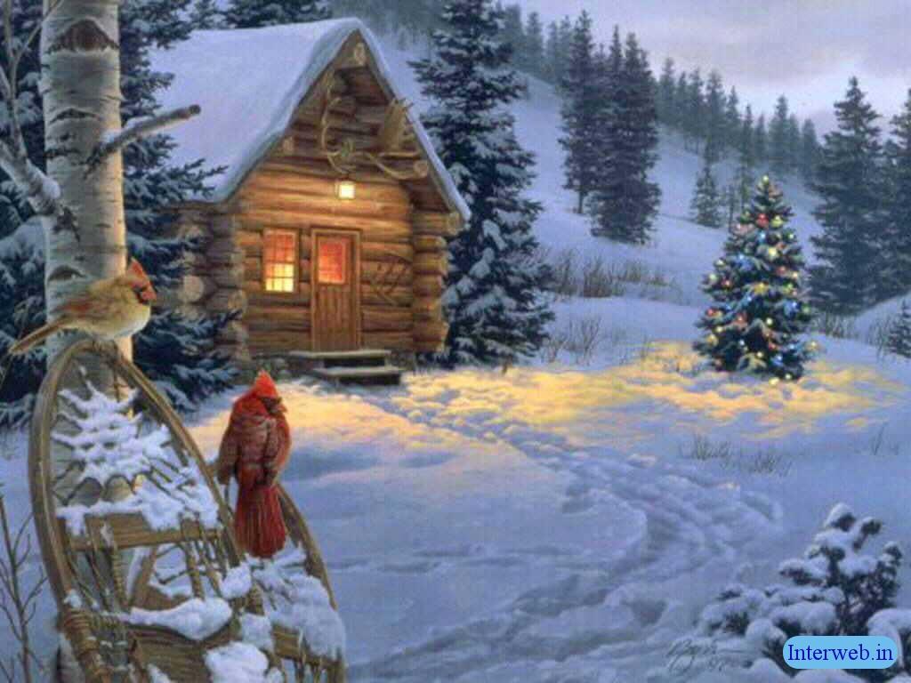 old cabin winter scene wallpaper - photo #2