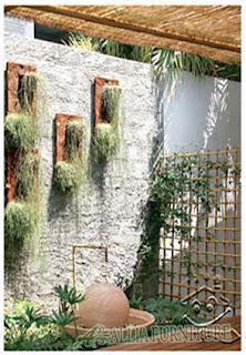 Tembok apartemen dengan konsep taman