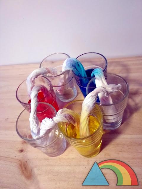 Experimento para descubrir como se forman algunos colores secundarios mediante capilaridad del papel de cocina