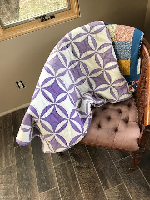 Vintage purple and white orange peel quilt