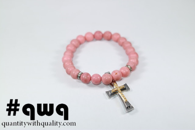 Titanium Collection with Pink Phyrus and Cross Pendant