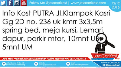 Info Kost Putra Klampok Kastri #101