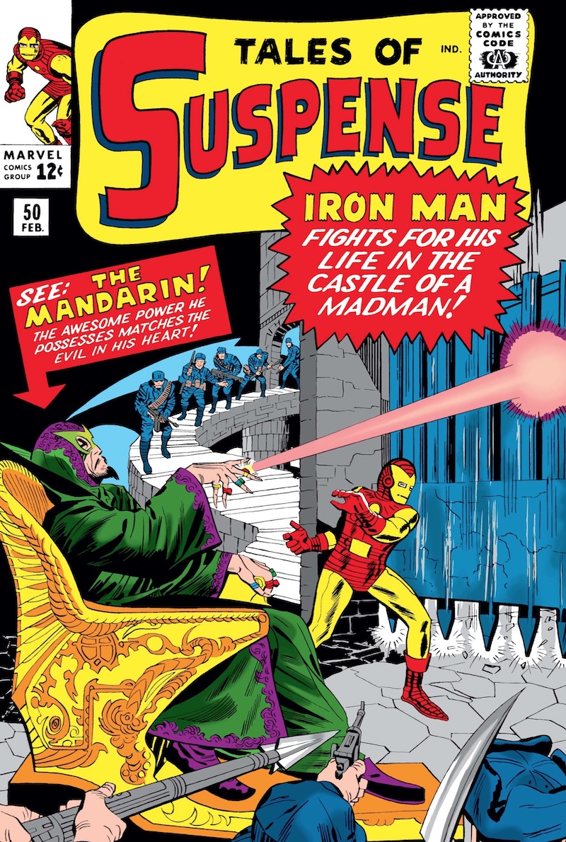 The Mandarin seated on throne firing a ray beam from one of his many rings past a surprised Iron Man, with blurb 'See: The Mandarin!'