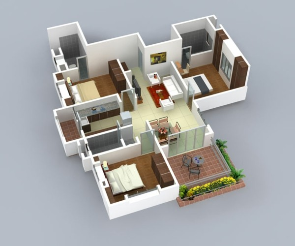 3 Bedroom House Enchanting Insight Of 3 Bedroom 3D Floor Plans In Your House Or Apartment Design Review