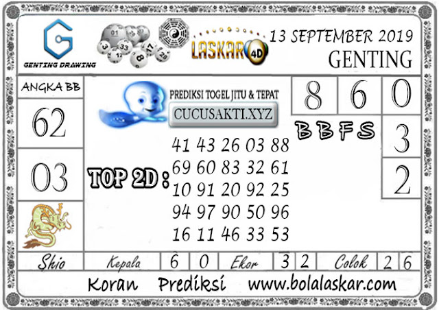 Prediksi GENTING DRAWING LASKAR4D 13 SEPTEMBER 2019