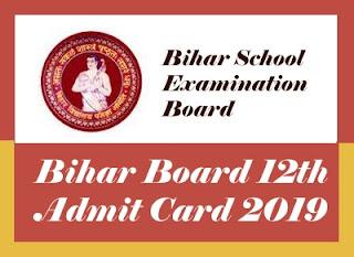 Bihar Board 12th Admit card 2019, BSEB  Intermediate Admit card 2019, BSEB 12th Admit card 2019 Download