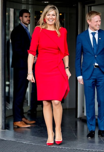 Queen Maxima is the patron of royal orchestra and ambassador in the international community. Maxima wore a red dress and shoes by Natan brand
