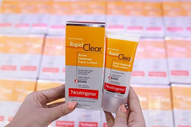 Review tẩy da chết BHA Neutrogena Rapid Clear Acne Defense Face Lotion, neutrogena, tẩy tế bào chết, BHA, BHA nào tốt, Neutrogena rapid clear acne defense face lotion