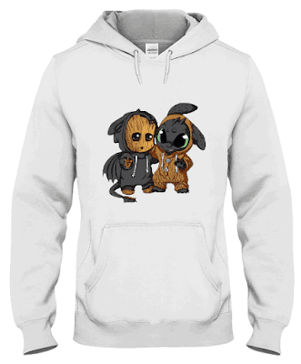 baby groot and toothless hoodie, baby groot and toothless sweatshirt