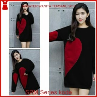 10SPM Sweater Wanita Black Anona Cantik Love Bj6110