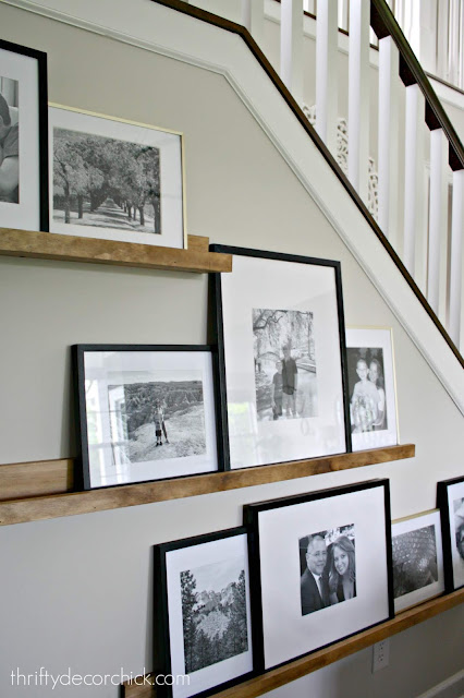 DIY picture frame ledges with pine