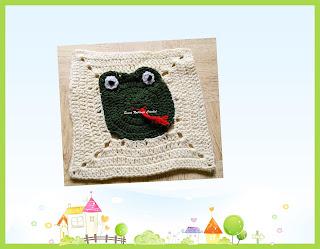 free crochet pattern, free crochet frog square pattern, free crochet frog motif, free crochet frog granny square pattern, free crochet snake granny square pattern, free crochet afghan pattern, free crochet baby blanket square pattern, Oswal Cashmilon, Pradhan stores,