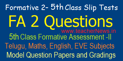 5th Class Formative 2/ FA 2 CCE Model Question Papers/ Slip Tests, Grading Table