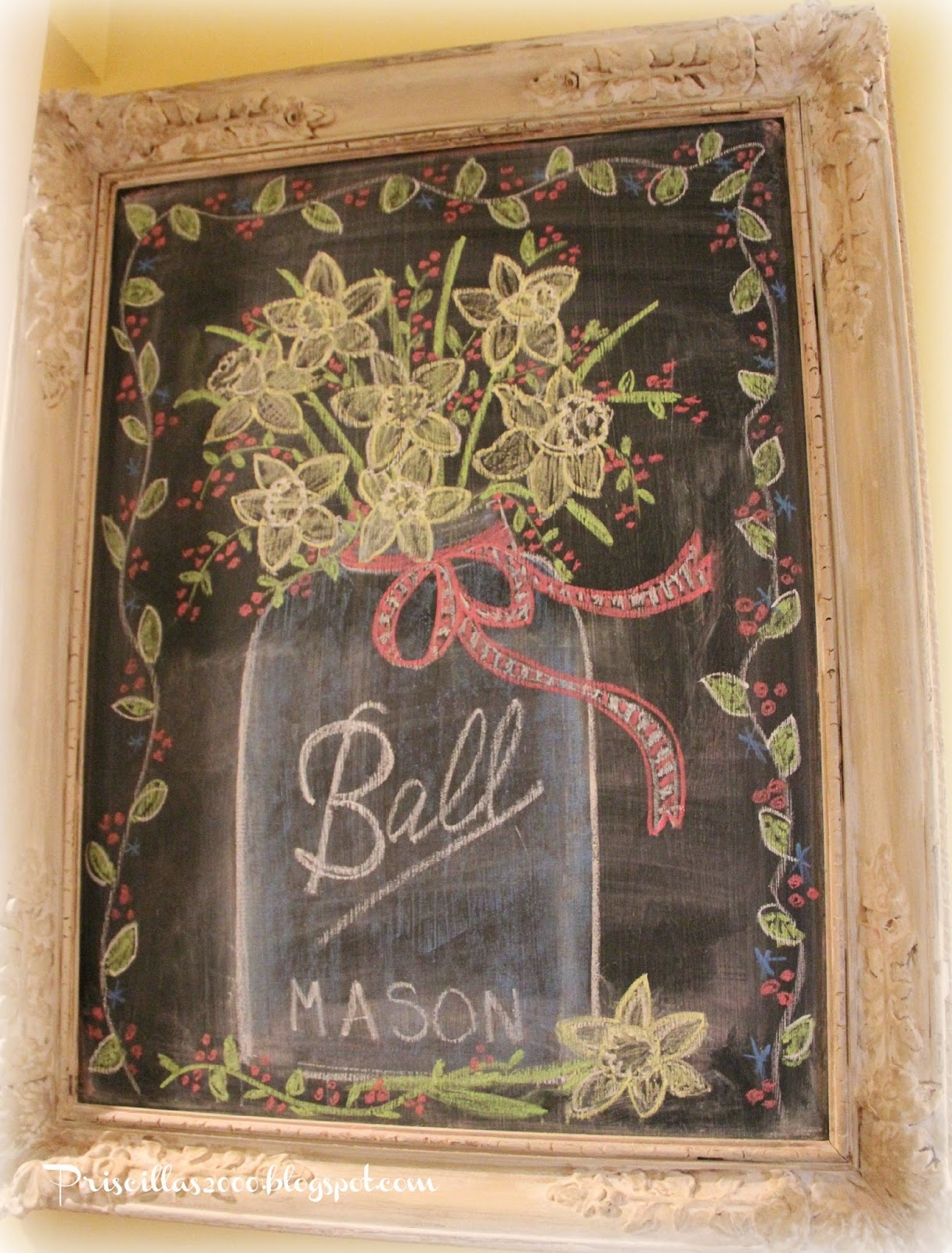 Mason jar cha board art by Pricillas for Treasure Hunt Thursday link up party at From My Front Porch To Yours.