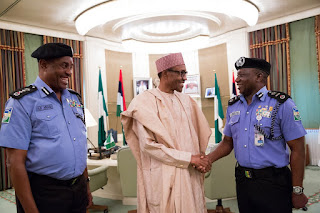 Ibrahim Kpotun Idris meets President Buhari in company of outgoing IGP, Solomon Arase