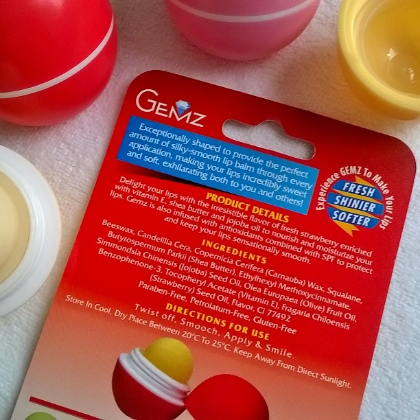 Gemz Lip Balm Emerald Pineapple Blueberry Amethyst Ruby Strawberry Peach Moonstone Mint Zircon All -Around Pinay Mama