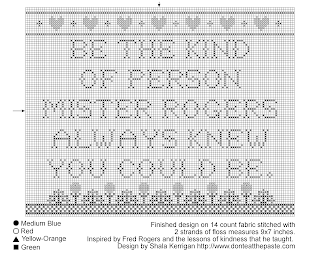Be the kind of person Mister Rogers always knew you could be- cross stitch pattern