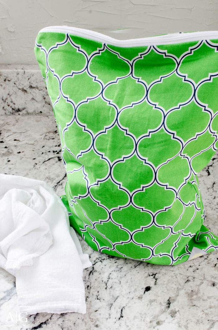 Do you need a place to keep all your damp towels and rags until laundry day? A wet bag normally used for diapers is the perfect solution.  |  www.andersonandgrant.com