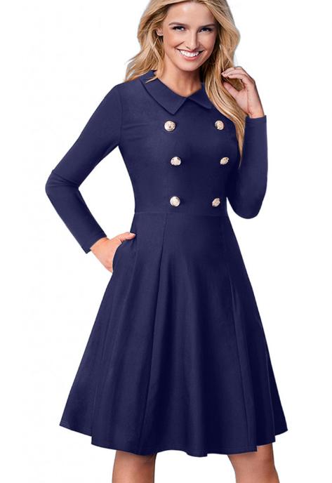 Rochie stil vintage cu butoni si pliuri si manci lungi albastra