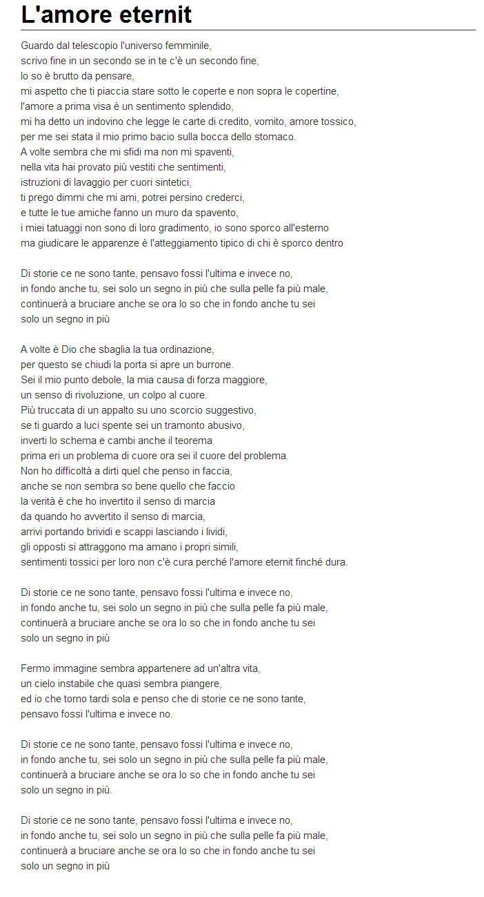 testo L'Amore Eternit Fedez feat. Noemi Lyrics Translation