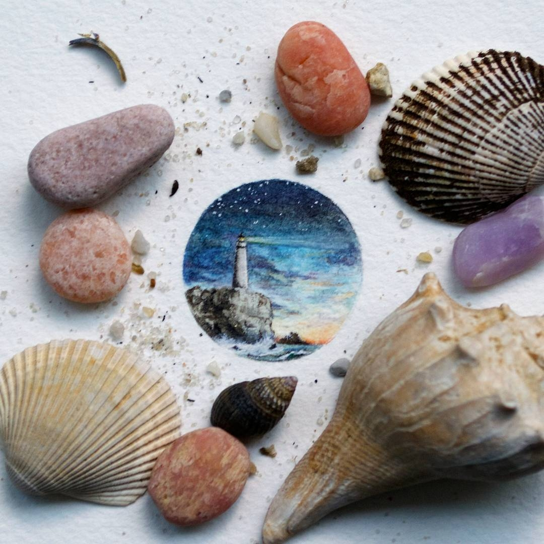 13-Lighthouse-and-Seashells-Rachel-Beltz-Creative-Miniature-Paintings-www-designstack-co