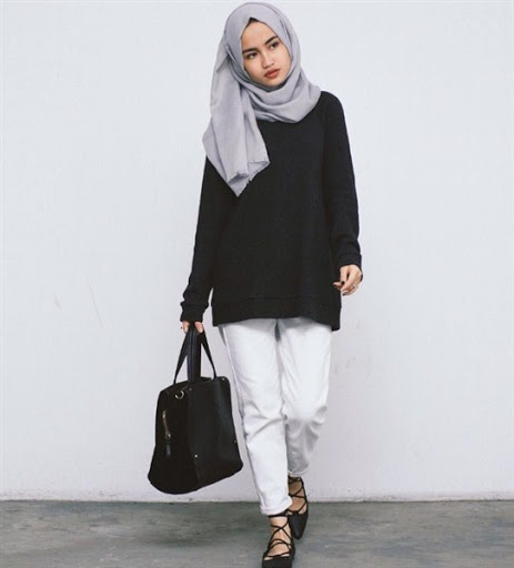 gaya model hijab simple casual terbaru 2017/2018
