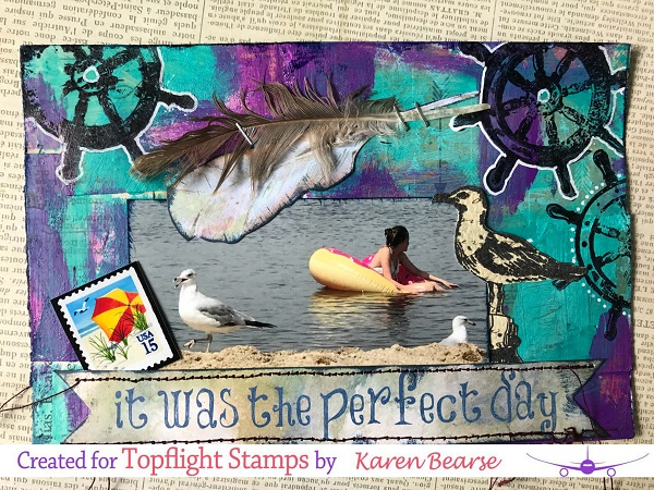 art card with photo of seagulls & girl on floatation. Stamps with seagulls & ship wheel.