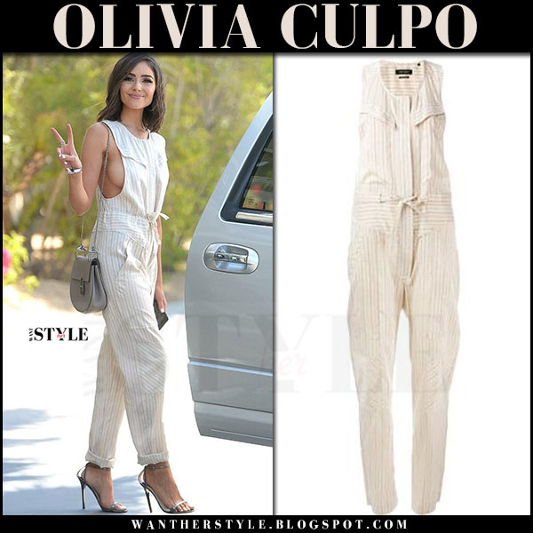 Olivia Culpo in cream striped jumpsuit isabel marant at Coachella what she wore april 2017