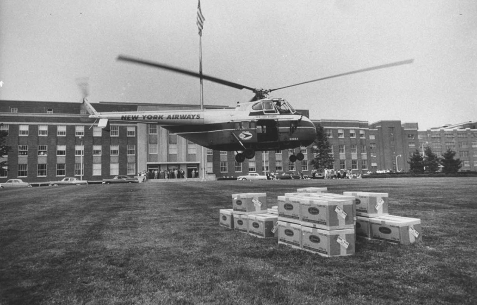 Crates of flu vaccine were rushed by helicopter from Cyanamid's Lederle Labs to New York.