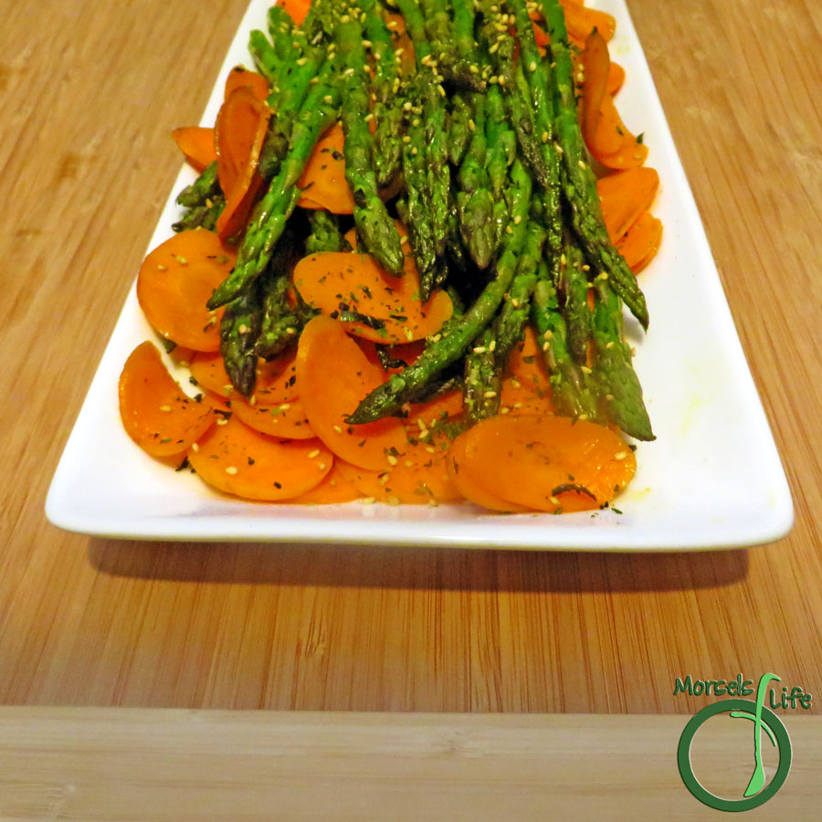 Morsels of Life - Sesame Asparagus with Carrots - Asparagus with an Asian flair. Cook up your asparagus with some carrots in sesame oil and toss with the wonderfulness of furikake!