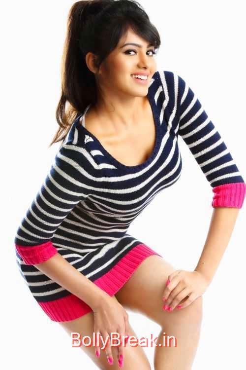 Deepa-Sannidhi-Photo-Stills-4, Deepa Sannidhi Hot HD Images in Black White Striped Dress